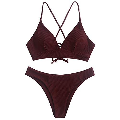 ZAFUL Damen Solide Gerippt Lace Up Spaghetti-Träger Bikini Set Weinrot M