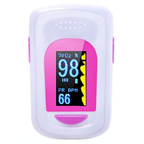 Fingerspitzen-Pulsoximeter Tragbares Fingerspitzen-Blutsauerstoff Messgerät-Sättigung Messgerät Mit Oled-Display-Alarm Spo2 Pr-Pulsoximeter für Kinder und Erwachsene Rosa (5,6 * 3,4 * 3,2 Cm)