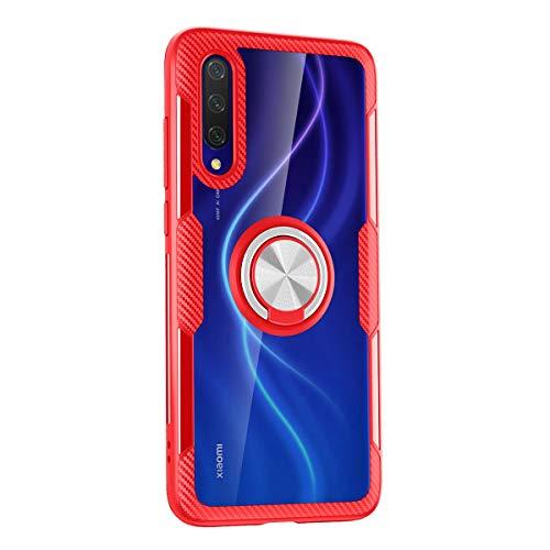 Yoodi Capa Xiaomi Mi CC9, proteção militar transparente com absorção de choque PC + capa transparente de TPU com anel magnético para Xiaomi Mi CC9 6,3 polegadas - Vermelho + Prata
