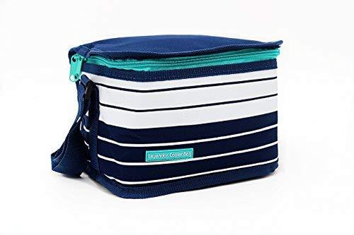 Leyendas Lunch Bag Bolsa Nevera Termica Porta Alimentos 2 litros Tamaño Capacidad de 6 latas, Transporte de Bebidas Frías o Alimentos. (Rayas Blancas)