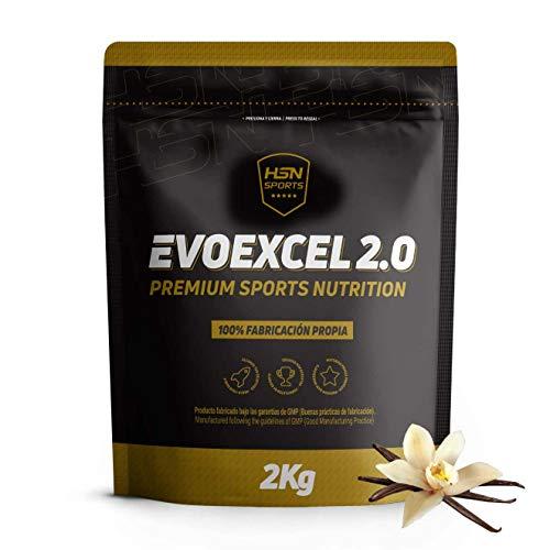 Whey Protein Isolate + Whey Protein Concentrate de HSN Evoexcel 2.0   Batido de Proteínas para Ganar Masa Muscular, Recuperar, Perder Grasa   Vegetariano, Sabor Vainilla, 2Kg