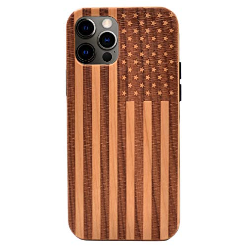 CYD Wooden Case for iPhone 12 Pro Max (6.7 inch 2020 Release), Real Wood Engraved Shockproof Drop Proof Slim Bumper TPU Protective Cover (American Flag USA)