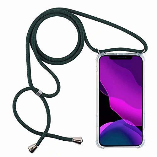 2ndSpring Cover con Collana Compatibile con Xiaomi Redmi Note 9 / 10X 4G,Case con Laccio per Il Collo Custodia con Cordino,Verde Scuro