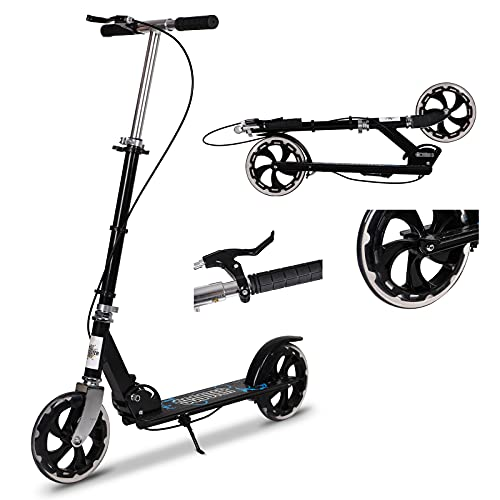 Kick Scooter for Adults, Foldable Adult Scooter Adjustable Handlebar Push Scooter with Kickstand, Dual Brake System 200mm Wheels ABEC-7 Bearings for Boys Girls Adults Teens Ages 8 9 10 11 12+ Gift