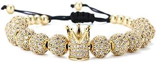 GVUSMIL Luxury CZ Imperial Crown Braided Copper Bracelets...