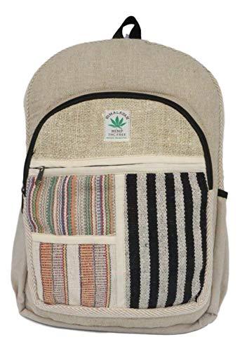 HIMALAYAN Mochila de cáñamo, mochila diaria/mochila para la escuela, viajes, ocio, al aire libre, naturaleza, con compartimento para portátil, hecha a mano en Nepal, modelo 135.1
