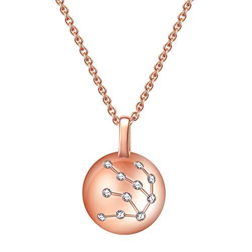 Collar de Inspiración Rosa de cristal 925 Constelación del horóscopo del acuario Astrología collar 12 Constelación muestra del horóscopo collar de regalos de cumpleaños de la astrología del zodiaco de