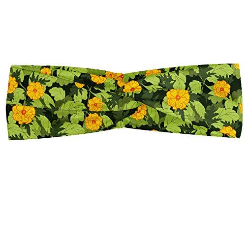 ABAKUHAUS Fleur Bandeau, Blooming Design Nature avec Dessiné frais Vibrant Feuillage Main image, Serre-tête Féminin Élastique et Doux pour Sport et pour Usage Quotidien, Orange Pomme verte