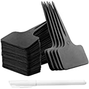 Whaline 100Stk T-Form Plastik Pflanzenstecker Schwarz Pflanzenschilder zum Beschriften Wetterfest Stecketiketten und 1 Weisse Marker Pen