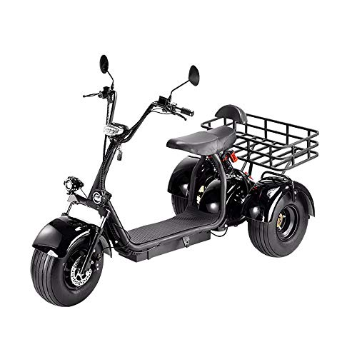 Mr Car Senioren Elektromobil, E Scooter, Elektrisches Harley-Dreirad Burst Flash/EIN-Knopf-Start/Kann Waren ziehen/Vakuumreifen/Doppelsitz/Fernbedienung/Geeignet für Reisen im Freien B