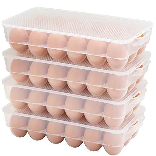 Eslite Covered Egg Holder,Egg Storage for Refrigerator,Fits 18 Eggs,Pack of 4