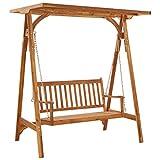 Lyrlody - Dondolo da giardino con tetto, seduta e schienale, altalena da...