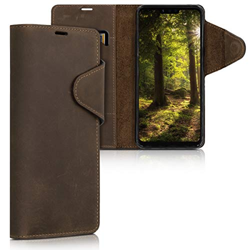 kalibri Hülle kompatibel mit LG G8 ThinQ - Leder Handyhülle Handy Hülle Cover - Schutzhülle in Braun