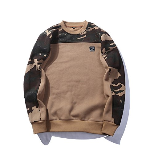 GWELL Herren Camouflage Pullover Sweat Shirt Klassische Crew Neck Outdoor Sports, Khaki, XXL
