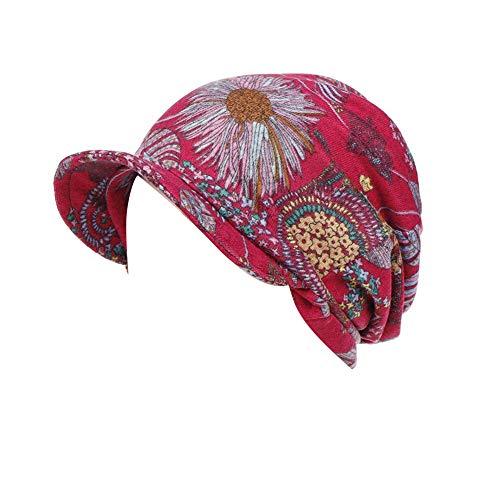 Amorar Sombrero de Oncologicos con Visera UV 50+ Gorras de Béisbol Baker Boy Turbante para Mujer Cáncer Perdida de Cabello