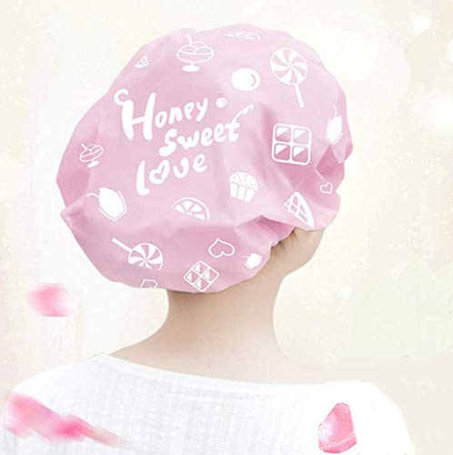 Losuya 2pcs Wasserdichte Duschhaube elastische Bad Kappen für Frauen Dusche Spa Salon