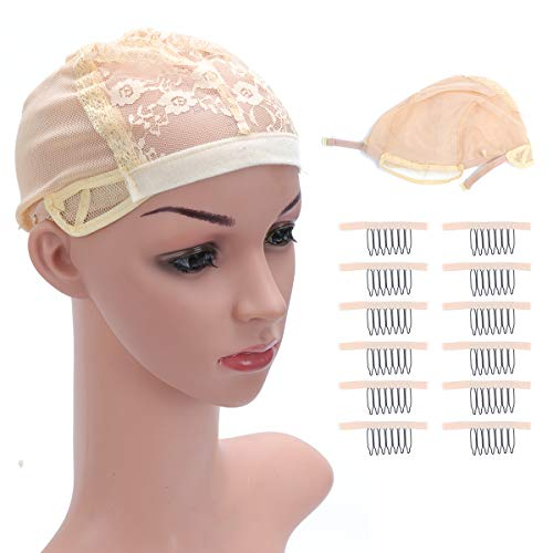 Wig caps for women - 2pcs Lace Hair Nets for Making Wigs with Elastic Band and 12pcs Wig Combs 7-Teeth Wig Clips Steel Tooth Lace Wig Clips