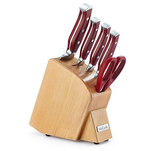 McCook 包丁セット 6点 ステンレス鋼 包丁立て付き 万能包丁 牛刀包丁 三徳包丁 パン切り フルーツナイフ 料理バサミ 菜切り包丁 シェフナイフ 一体構造ハンドル 多機能 肉切り 調理 家庭用