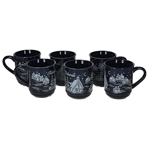 MamboCat 6er Set Glühweinbecher 0,2L dunkelblau Weihnachtslandschaft   Klassische Porzellan Glühweintassen   geeicht   ideal für den Weihnachtsmarkt - den Profi & Gastronomiebedarf