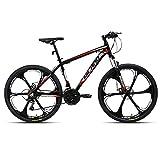 AL132621_BK-jio.Hiland Bicicleta de montaña 26 pulgadas MTB aluminio con cuadro de aluminio 17 pulgadas freno de disco 6 radios Shimano 21 velocidades cambio suspensión horquilla negro&rojo