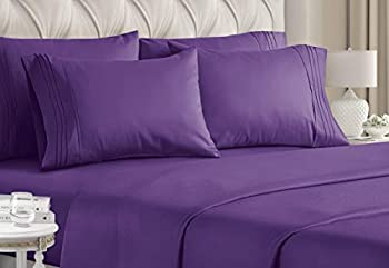 Queen Size Sheet Set - 6 Piece Set - Hotel Luxury Bed Sheets - Extra Soft - Deep Pockets - Easy Fit - Breathable & Cooling Sheets - Wrinkle Free - Comfy - Purple Plum Bed Sheets - Queens Sheets - 6 PC