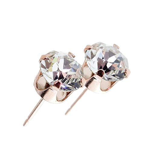 pewterhooter 14k Rose Gold plating on Sterling silver stud earrings made with sparkling Diamond White AAA Cubic Zirconia crystal. Gift box. Made in the UK.