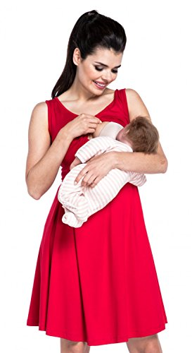 Zeta Ville - Stillen A-Linie Kleid Schwangere Tiefer V-Ausschnitt - Damen - 685c (Rot)