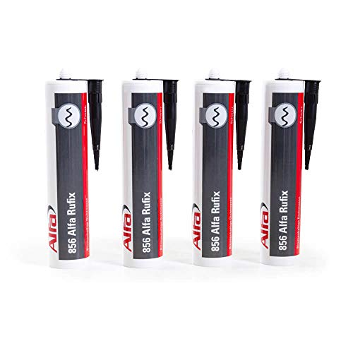 Bitumen Dichtmasse 4 x 300 ml schwarzer Dachdichtstoff witterungsbeständiger Bitumenkleber zum Abdichten und Verkleben