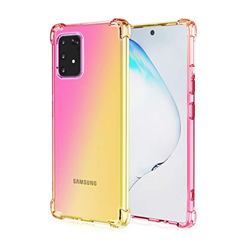HAOYE para Samsung Galaxy S10 Lite Funda, Funda Gradiente Transparente TPU, Carcasa Cristal Ultra Slim Flexible Suave Silicona TPU Bumper, Reforzar la Cuatro Esquinas Case Cover (Pink/Oro)