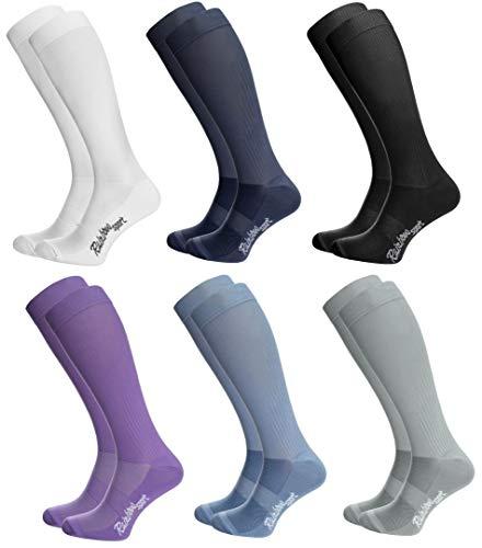 Rainbow Socks - Hombre Mujer Calcetines Largos de Deporte - 6 Pares - Blanco Azul Negro Morado Jeans Gris - Talla UE 36-38