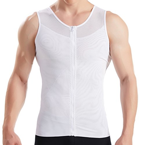 Hanerdun- Mens Slimming Body Shaper Shirt With Zipper Abs Abdomen Slim,White,X-Large
