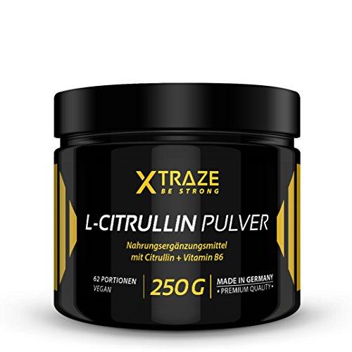 XTRAZE® L-Citrullin Malat Pulver 250 g - 100% rein + Vitamin B6 vegan und ohne Zusatzstoffe - Qualität aus Deutschland - Aminosäure Citrulline für Kraftsport | Bodybuilding | Fitness (1 Dose)