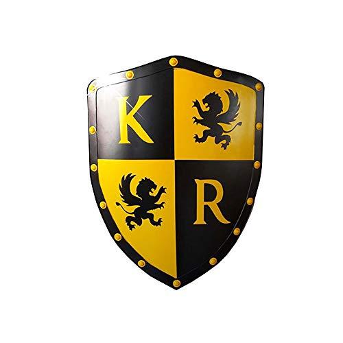 KCCCC Escudo Medieval Escultura Medieval decoracin de la Pared fra Negro Amarillo Chapa laminada en Juego Escudo 50x60cm para Nios Disfraz de Caballero (Color : Black Yellow, Tamao : 50x60cm)