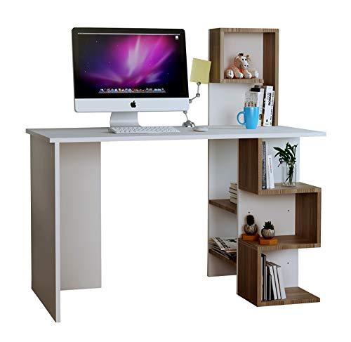 HOMIDEA DERONI Scrivania - Scrivania per Computer - Scrivania Ufficio - Porta PC - Tavolo per Computer con Scaffale Ripiano