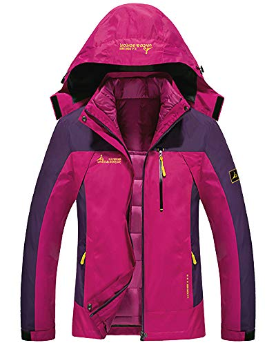 Shengwan Doppeljacke Damen 3 in 1 Winter Jacke Funktionsjacke Outdoor Wasserdicht Atmungsaktiv Wanderjacke Softshelljacke Rose XL