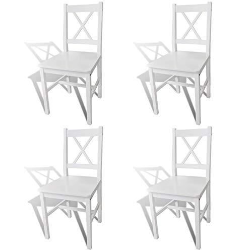 TEET Sillas de comedor, 4 piezas, madera blanca, para oficina, salón, sala de estar