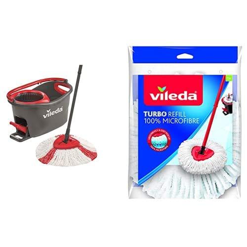 Vileda Turbo Juego de fregona, Negro Y Rojo, 48.5 x 27.5 x 28 cm + Turbo 2in1 Recambio de Microfibras y Poliamida, Color Rojo y Blanco