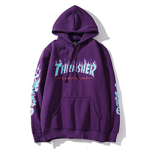 AXYQ Mode Flame Lässig Hoodie Pullover Hip Hop Street Wind Sweatshirts Unisex Langarm Kapuzenpullover,Purple-M