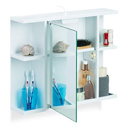 Relaxdays, Weiß Spiegelschrank Bad, Badschrank mit Steckdose, Spiegeltür und 6 Fächer, robuster Stahl, HBT 45x50x12 cm, 45 x 50 x 12 cm