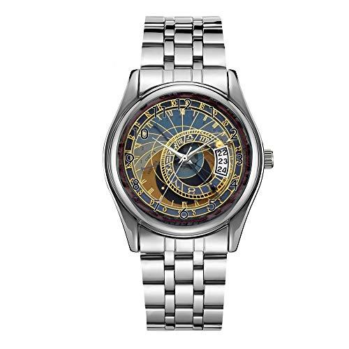 Reloj de lujo de los hombres 30m impermeable fecha reloj masculino deportes relojes hombres cuarzo casual Navidad reloj de pulsera Praga reloj astronómico reloj de pulsera