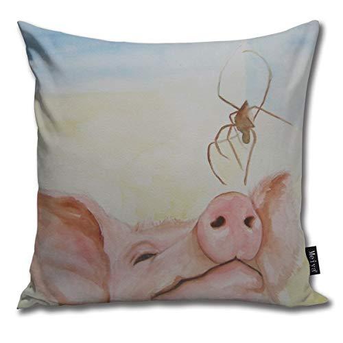 BwwoBing Throw kussensloop voor slaapbank, bank, woondecoratie, vintage, wilbur en charlotte patroon, vierkant, 45 x 45 cm