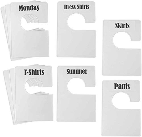 TraGoods - Juego de 32 separadores de tamaño de estante de ropa blanca más 150 etiquetas (1 pulgada) y 40 etiquetas en blanco grandes, rectangulares grandes para ropa (blanco perla)