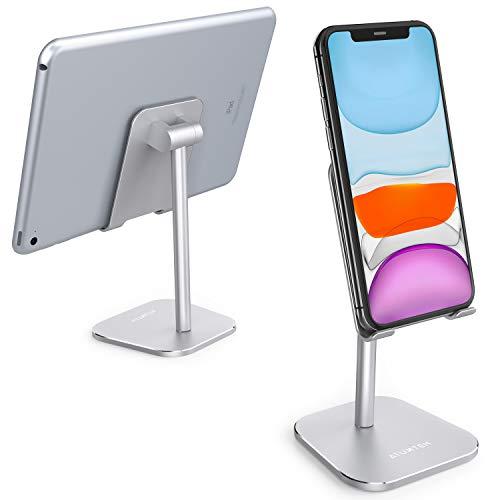 ATUMTEK Handy Stander Handyhalterung Alluminium Verstellbarer Handyhalter Stander fur iPhone 1111 ProXS MaxXRXSX87 Plus iPad Samsung alle Tablets und Smartphones Silber