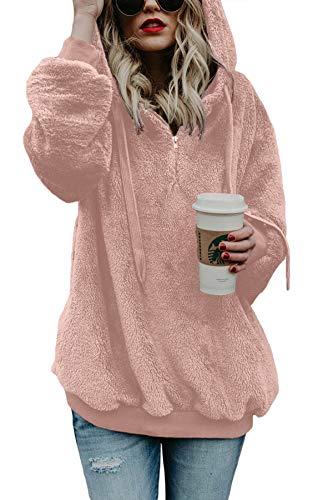 Acelitt Women's Oversized Fuzzy Fleece Casual Loose Sweatshirt Hoodies Hooded Tops Coats with Pockets Pink Size 4 6
