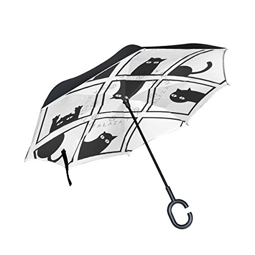 ISAOA invertido Paraguas Resistente al Viento Doble Capa Reversible Plegable Paraguas para...