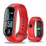 Pulsera inteligente Aubess Fitness Tracker, M3, pantalla táctil de color, impermeable, IP67, GPS, monitor de sueño, frecuencia cardíaca, presión arterial, para mujeres y hombres, 0.15, color rojo