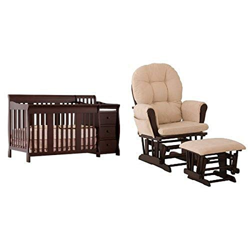 Stork Craft Portofino 4-in-1 Fixed Side Convertible Crib and Changer, Espresso and Hoop Glider and...