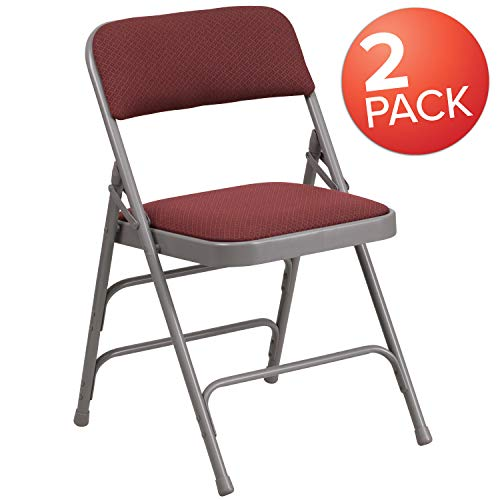 Flash Furniture 2 Pk. HERCULES Series Curved Triple Braced & Double Hinged Burgundy Patterned Fabric Metal Folding Chair