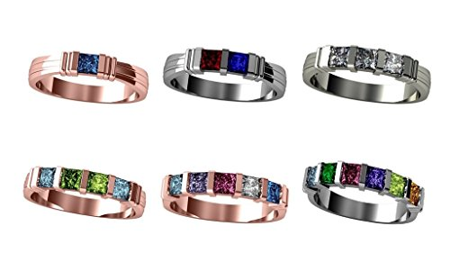 NANA Princess Channel Set Mothers Ring with 1 to 6 Simulated Birthstones - Silver - Size 7