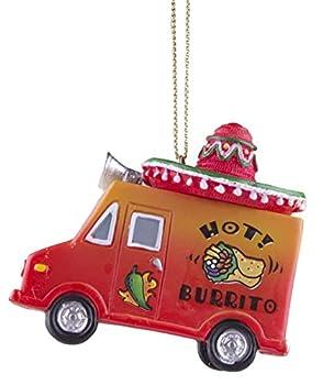 Gnz Super Cute Hot! Burrito Taco Truck w/Sombrero Christmas/Everyday Ornament
